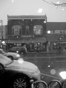 Conkey's Bookstore, in Downtown Appleton, Wisconsin.  Taken during the first snow of the winter of 2006.